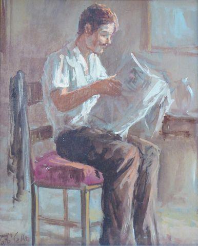 Antonio SELLA (XX) Homme lisant son journal Huile sur panneau sig...
