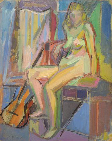 Jean EKIERT (1907-1993) Femme à la guitare Huile sur panneau sign...