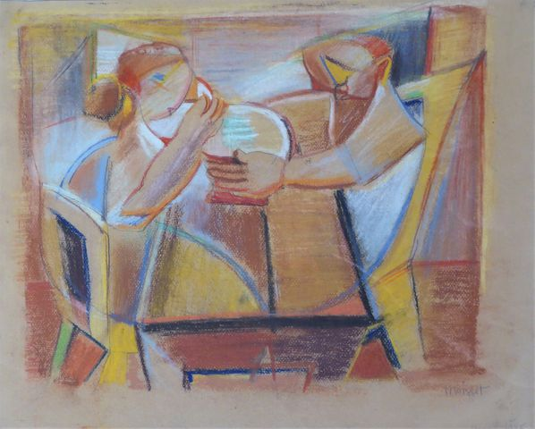 Raymond MOISSET (1906-1994) A table Technique mixte sur papier si...