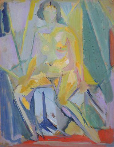 Jean EKIERT (1907-1993) Femme assise Huile sur panneau signée en ...