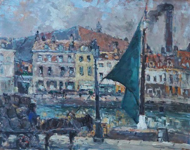Fernand MAILLAUD (1862-1948) Marchand de charbon à Lille Huile su...