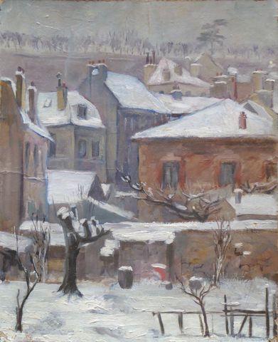 Ecole FRANCAISE XXème siècle Village sous la neige Huile sur cart...