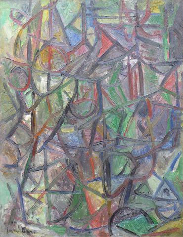David LAN-BAR (1912-1987) Composition Huile sur toile marouflée s...