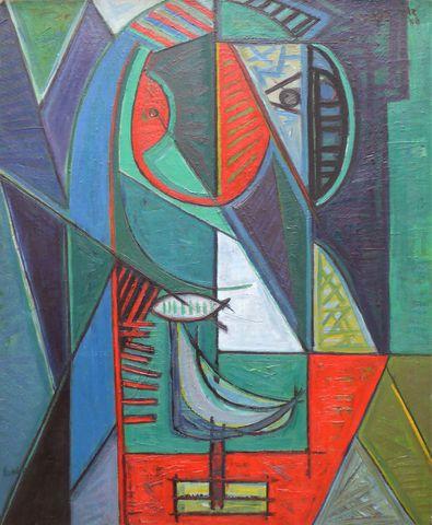 David LAN-BAR (1912-1987) Composition Huile sur toile signée en b...