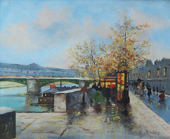Claude MOURIER (1930) Bords de Seine Huile sur toile signée en ba...