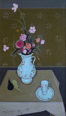 SIMON AUGUSTE (1909-1987) Fleurs Huile sur toile, signée en bas à...