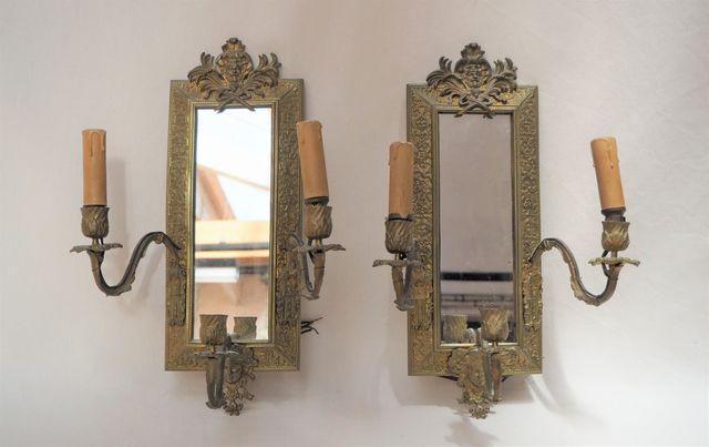 Paire d'appliques miroir en bronze doré de style Louis XIV à troi...