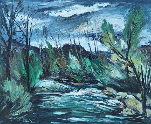 Anders OSTERLIND (1887-1960) Paysage Huile sur isorel SBD 54 x 65...
