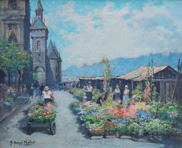 Jules Alfred HERVÉ-MATHÉ (1868-1953) Le marché aux fleurs à Paris...