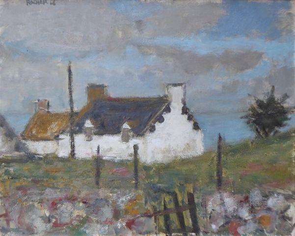 Georges ROCHER (1927 - 1984) Maisons bretonnes 1966 Huile sur toi...
