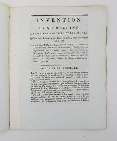 DAUDIN (Jean Antoine). Invention d'une machine à faire les mortie...