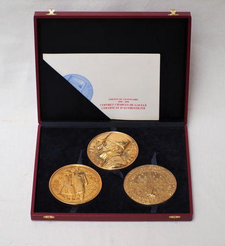 Albert de JAEGER (1908-1992)  Coffret comprenant 3 médailles comm...