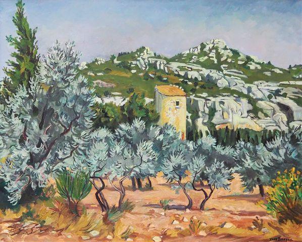 Yves BRAYER (1907-1990) Moulin dans les oliviers, Les Baux 1978 H...
