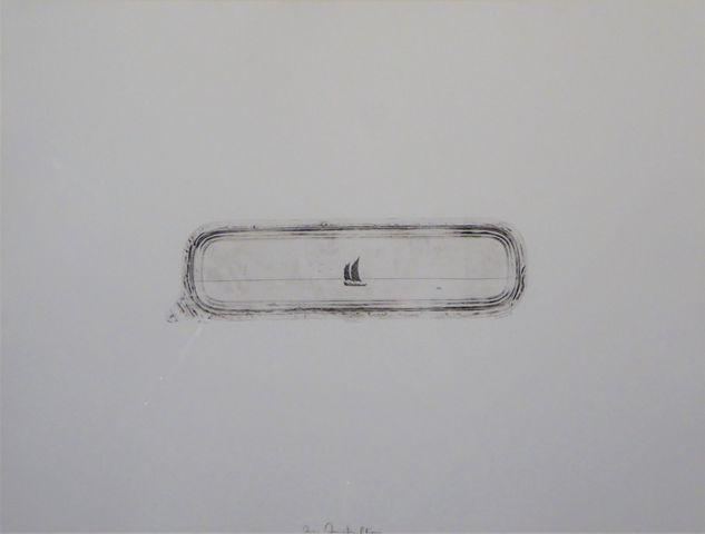Philippe FAVIER (1957) Petit navire Lithographie noir et blanc si...