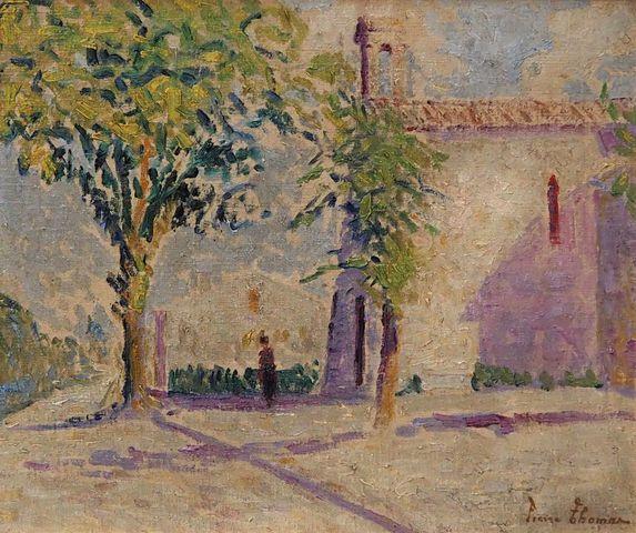 Pierre THOMAS (1865-1930) Paysage animé Huile sur toile marouflée...