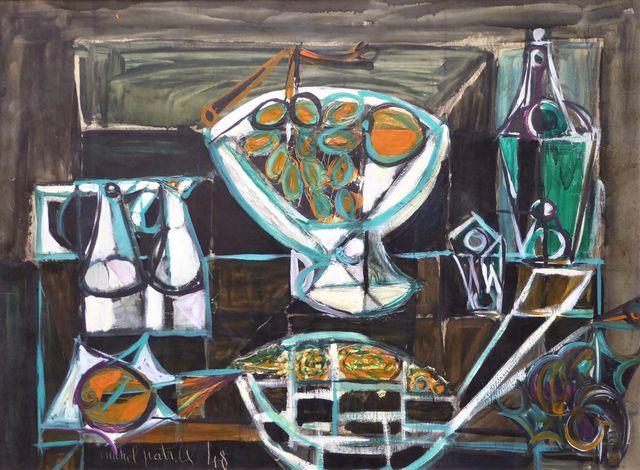 Michel PATRIX (1917-1973) Nature morte à la coupe de fruits Huile...