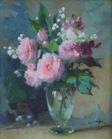 Alfred-Georges HOEN (1869-1954) Vase au bouquet de roses Huile su...