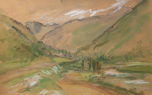 Ecole FRANCAISE XXe siècle Paysage de montagne Paire de pastels s...