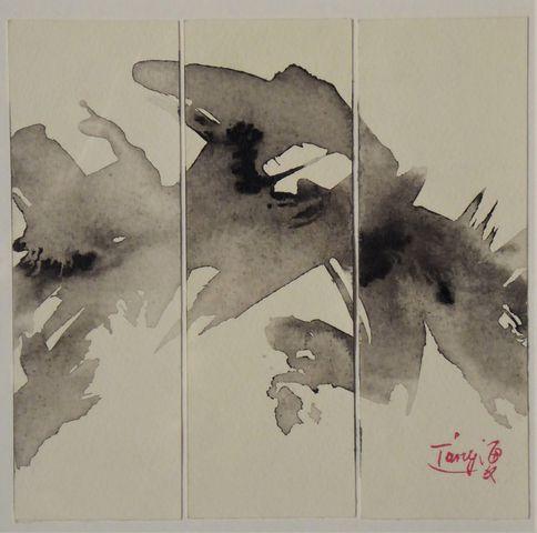 TANG Haiwen (1927-1991) Composition formant triptyque Encre sur p...