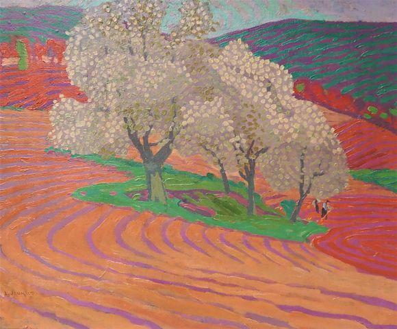 Léon JOUHAUD (1874-1950) Paysage fauve Huile sur carton SBG 46 x ...