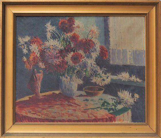 Pierre THOMAS (1865-1930) Nature morte au bouquet de fleurs Huile...