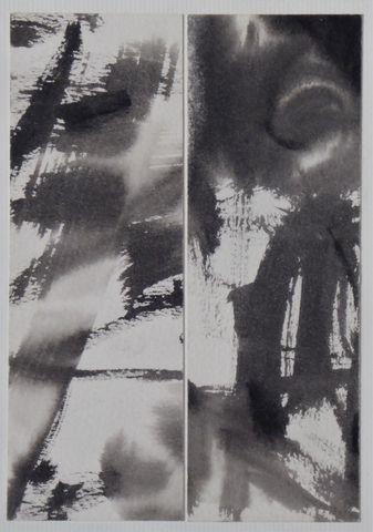 TANG Haiwen (1927-1991) Composition formant diptyque Encre sur pa...