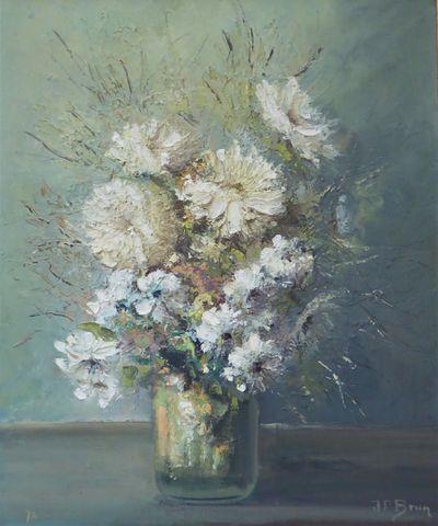 JP BRUN (XXème siècle) Nature morte aux fleurs Huile sur panneau ...