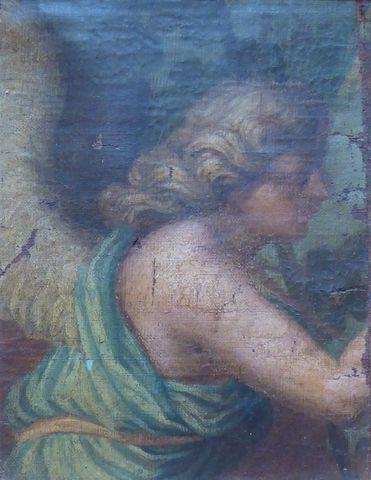 Ecole VENITIENNE Vers 1630 Fragment d'Ange Huile sur toile 25,5 x...
