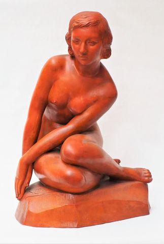 GREGORIO (XXe) Femme nue assise Terre cuite patinée, signée sur l...