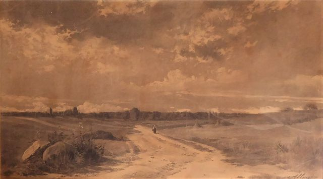Auguste ALLONGE (1833-1898) Femme sur un chemin Fusain sur papier...
