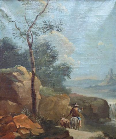 Ecole ANONYME XVIIIème siècle Paysage animé Huile sur toile 62,5 ...