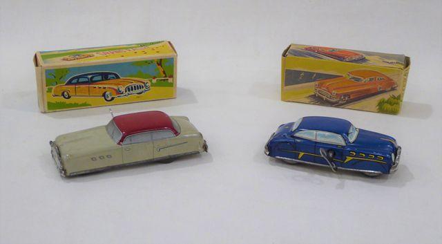 Lot de 3 véhicules comprenant :  Jouets GEM  Voiture en tôle lith...