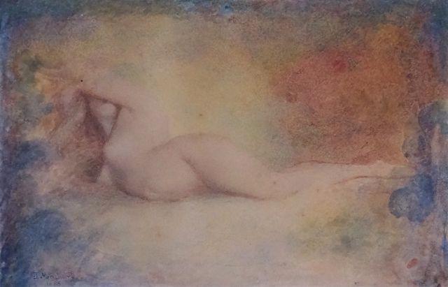 Jules Louis MACHARD (1839-1900) Femme nue allongée Aquarelle sur ...