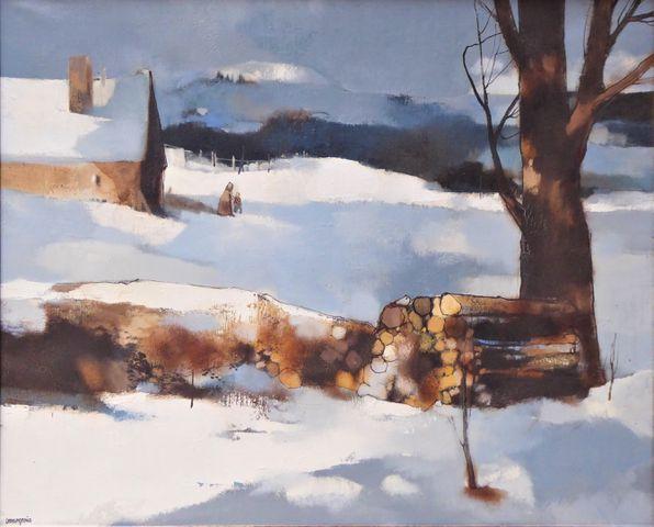 Jean-Claude BOURGEOIS (1932-2011) Paysage au bois coupé Huile sur...
