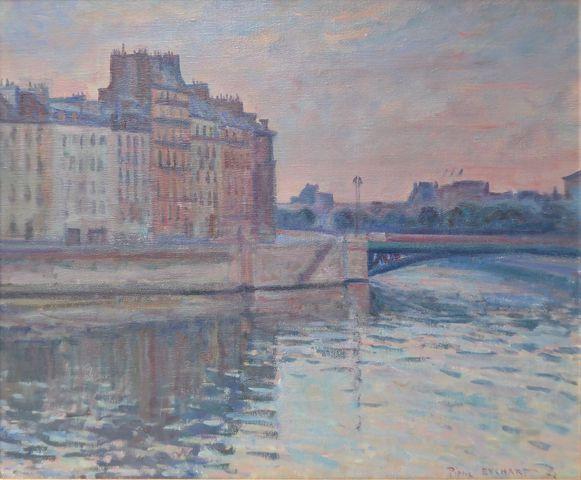 Pierre EYCHART (1943-2013) Paris, l'île de la Cité 1972 Huile sur...