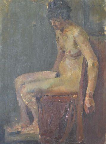 Dominic AVETRANI (1895-1976) Femme nue assise Huile sur toile sig...