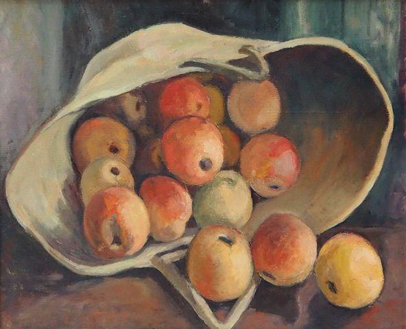 Ecole FRANCAISE XXème siècle Nature morte aux pommes Huile sur to...