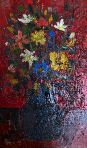 Marcel RENDU (XXe siècle) Bouquet de fleurs Huile sur toile, sign...