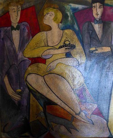 Linda LE KINFF (1949) Femme aux chats Huile sur panneau, signée e...