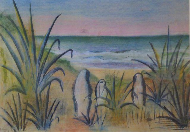 G. FLEURY (XXe siècle) Trois Marocaines en vord de mer Pastel gra...