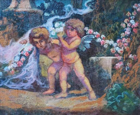 Jean-Louis PAGUENAUD (1876-1952) Putti Huile sur toile  47 x 55 c...