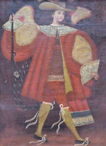 Ecole d'AMERIQUE DU SUD Personnage Huile sur toile 66,5 x 48,5 cm