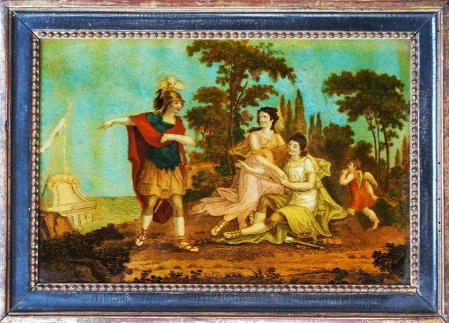 Fixé sous verre, présentant une scène mythologique Fin XVIIIème s...
