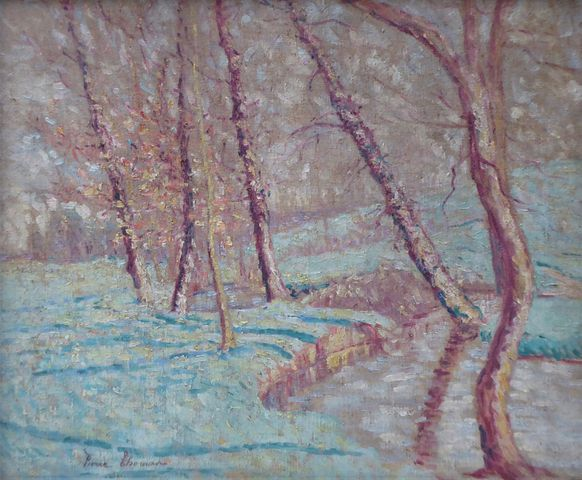 Pierre THOMAS (1865-1930) Paysage à la rivière Huile sur toile si...