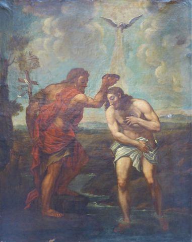 Ecole FRANCAISE XVIIIe siècle Baptême du Christ par St Jean Bapti...