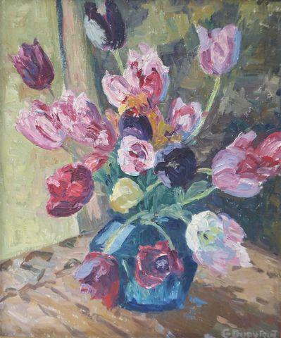 G. DUPYTOUT (XXème siècle) Nature morte aux fleurs Huile sur toil...