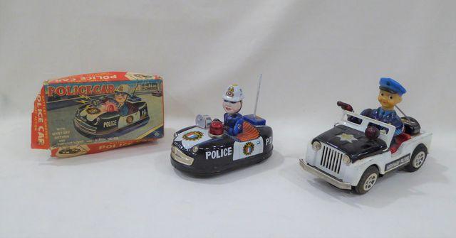 KO Japan Police Car, jouet fonctionnant sur batterie en tôle lith...