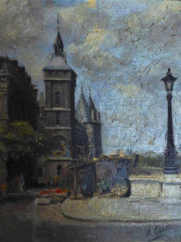 D. GAVIT (XXe siècle) Marché aux fleurs à Paris Huile sur toile m...