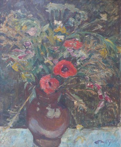 G. DUPYTOUT (XXème siècle) Fleurs champêtres Huile sur toile sign...
