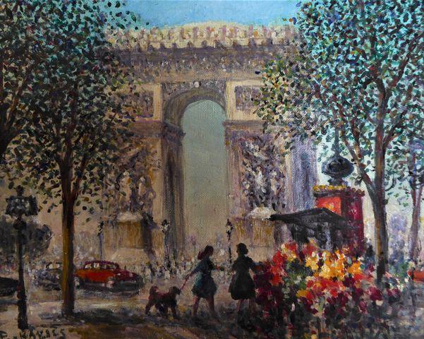 Gena PÉCHAUBES (1923) Marché aux fleurs à Paris Huile sur toile s...